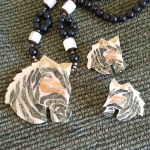vintage Zebra necklace and earrings with inlay